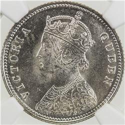 BRITISH INDIA: Victoria, Queen, 1837-1876, AR 1/4 rupee, 1862(c). NGC MS64