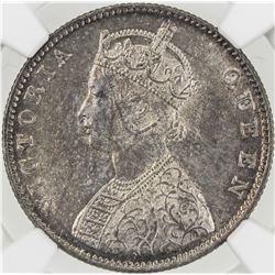 BRITISH INDIA: Victoria, Queen, 1837-1876, AR rupee, 1862(b&m). NGC MS62