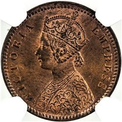 BRITISH INDIA: Victoria, Empress, 1876-1901, AE 1/12 anna, 1898(c). NGC MS63