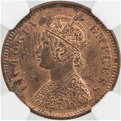 BRITISH INDIA: Victoria, Empress, 1876-1901, AE 1/2 pice, 1888(c)