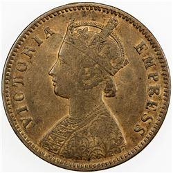 BRITISH INDIA: Victoria, Empress, 1876-1901, AE 1/4 anna, 1879-C. VF-EF