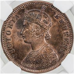 BRITISH INDIA: Victoria, Empress, 1876-1901, AE 1/4 anna, 1880(c). NGC MS63
