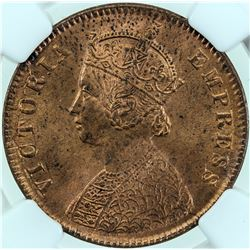 BRITISH INDIA: AE 1/4 anna, 1889 (c), NGC graded MS-64 Red & Brown