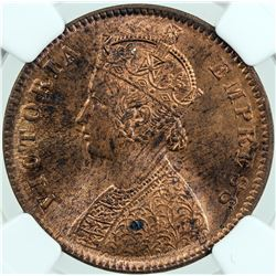 BRITISH INDIA: Victoria, Empress, 1876-1901, AE 1/4 anna, 1889 (c). NGC MS63