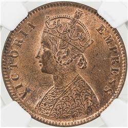 BRITISH INDIA: Victoria, Empress, 1876-1901, AE 1/4 anna, 1891(c)