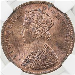 BRITISH INDIA: Victoria, Empress, 1876-1901, AE 1/4 anna, 1894(c)