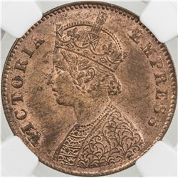 BRITISH INDIA: Victoria, Empress, 1876-1901, AE 1/4 anna, 1897(c)