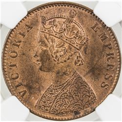 BRITISH INDIA: Victoria, Empress, 1876-1901, AE 1/4 anna, 1900(c). NGC MS63