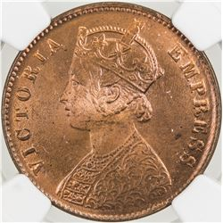 BRITISH INDIA: Victoria, Empress, 1876-1901, AE 1/4 anna, 1901(c). NGC MS65