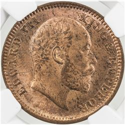 BRITISH INDIA: Edward VII, 1901-1910, AE 1/4 anna, 1905(c). NGC MS63
