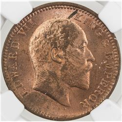 BRITISH INDIA: Edward VII, 1901-1910, AE 1/4 anna, 1906(c). NGC MS62