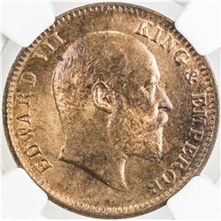 BRITISH INDIA: Edward VII, 1901-1910, AE 1/4 anna, 1908(c). NGC MS64