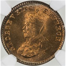 BRITISH INDIA: George V, 1910-1936, AE 1/12 anna, 1926(b). NGC MS66