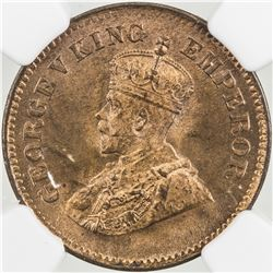 BRITISH INDIA: George V, 1910-1936, AE 1/2 pice, 1912(c). NGC MS65