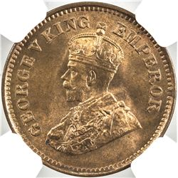 BRITISH INDIA: George V, 1910-1936, AE 1/2 pice, 1919(c)