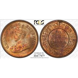 BRITISH INDIA: George V, 1910-1936, AE 1/2 pice, 1930(c). PCGS MS64