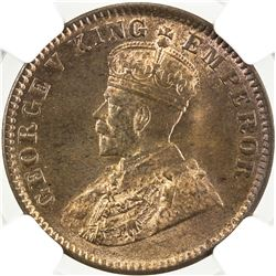 BRITISH INDIA: George V, 1910-1936, AE 1/4 anna, 1913(c). NGC MS63