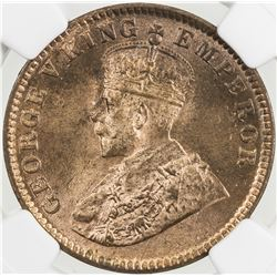 BRITISH INDIA: George V, 1910-1936, AE 1/4 anna, 1914(c). NGC MS65