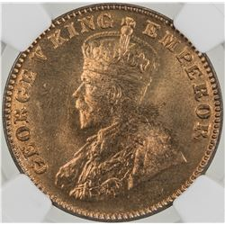BRITISH INDIA: George V, 1910-1936, AE 1/4 anna, 1926(b). NGC MS65