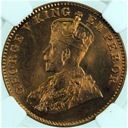 BRITISH INDIA: George V, 1910-1936, AE 1/4 anna, 1927(b). NGC MS65