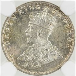 BRITISH INDIA: George V, 1910-1936, AR 2 annas, 1914(c). NGC MS64