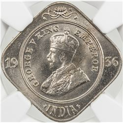 BRITISH INDIA: George V, 1910-1936, AR 2 annas, 1936(b). NGC MS64