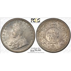 BRITISH INDIA: George V, 1910-1936, AR 1/4 rupee, 1930(c), PCGS MS64