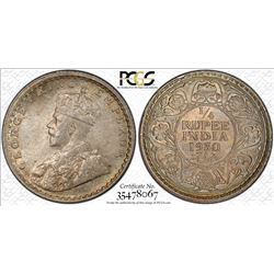 BRITISH INDIA: George V, 1910-1936, AR 1/4 rupee, 1930(c). PCGS MS64