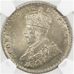 BRITISH INDIA: George V, 1910-1936, AR 1/2 rupee, 1933(c). NGC MS64