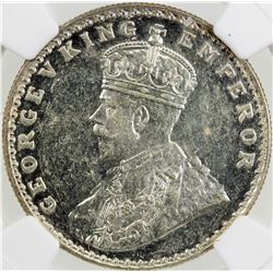 BRITISH INDIA: George V, 1910-1936, AR rupee, 1911(b). NGC MS61