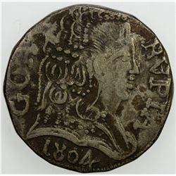 GOA: Joao, as regent, 1799-1816, AR rupia, 1804. VF
