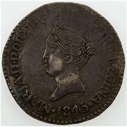 GOA: Maria II, 2nd reign, 1834-1853, AR rupia (10.98g), 1845. VF