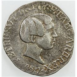 GOA: Pedro V, 1853-1861, AR rupia, 1857. F