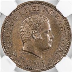 PORTUGUESE INDIA: Carlos I, 1889-1908, AE 1/4 tanga, 1901. NGC MS63