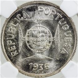 PORTUGUESE INDIA: AR 1/2 rupia, 1936. NGC MS64