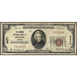 1929 $20 Dominion National Bank of Bristol, VA CH# 4477 National Currency Note
