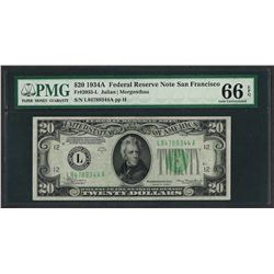 1934A $20 Federal Reserve Note San Francisco Fr.2055-L PMG Gem Uncirculated 66EP