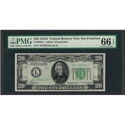 1934A $20 Federal Reserve Note San Francisco Fr.2055-L PMG Gem Uncirculated 66EP