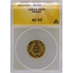 1851-A France 20 Francs Gold Coin ANACS AU53