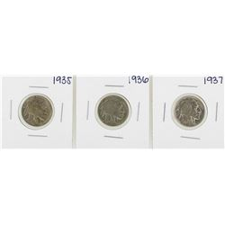 Lot of 1935-1937 Buffalo Nickel Coins
