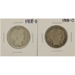 Lot of 1908-D & 1908-O Barber Half Dollar Coins