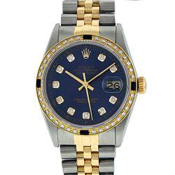 Rolex Men's Two Tone 14K Blue Diamond & Sapphire Datejust Wristwatch
