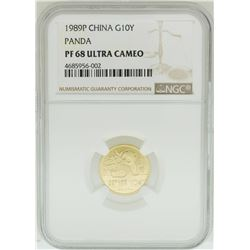 1989P China 10 Yuan Panda Gold Coin NGC PF68 Ultra Cameo