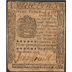 October 25, 1775 Nine Pence Pennsylvania Colonial Currency Note