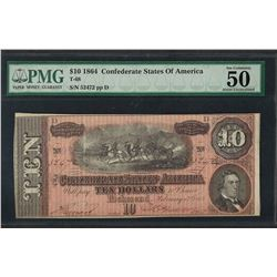 1864 $10 Confederate States of America Note T-68 PMG About Uncirculated 50EPQ