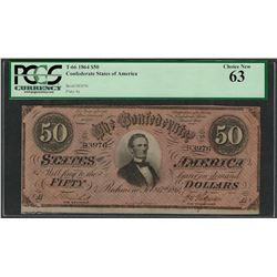 1864 $50 Confederate States of America Note T-66 PCGS Choice New 63