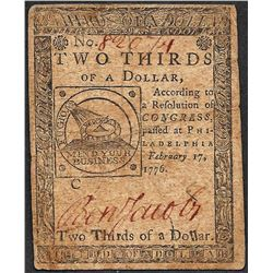 February 17, 1776 $2/3 Philadelphia Colonial Currency Note