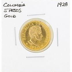 1928 Columbia 5 Pesos Gold Coin