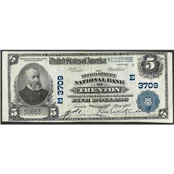 1902 PB $5 Broadstreet NB of Trenton, NJ CH# 3709 National Currency Note
