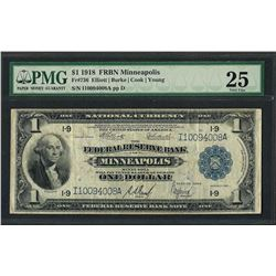 1918 $1 Federal Reserve Bank Note Minneapolis Fr.736 PMG Very Fine 25